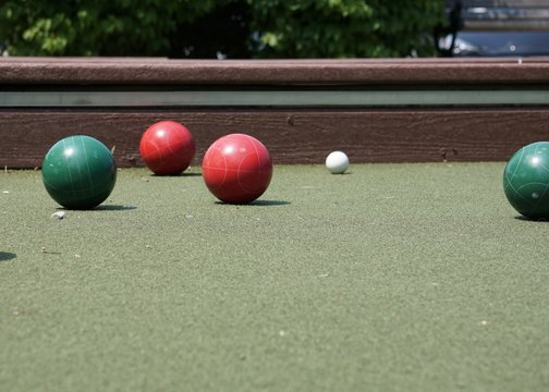Playing bocce in the afternoon