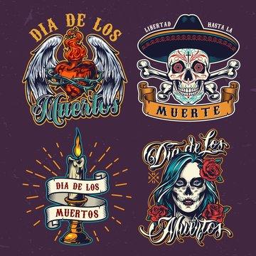 Dia De Los Muertos colorful labels