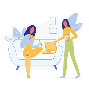 Girlfriends Eating Junk Food Flat Illustration