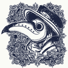 Plague doctor portrait. Vector tattoo. Medieval gothic venetian mask