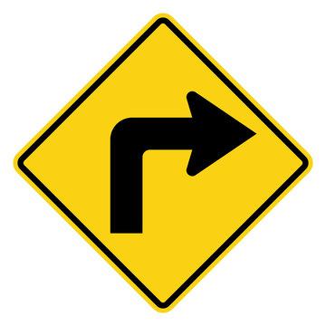Sharp curve to right, traffic sign, vector illustration