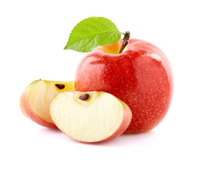 Ripe apple with slices on white