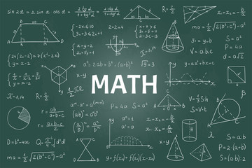 Doodle math blackboard. Mathematical theory formulas and equations, hand drawn school education graphs. Vector illustration board model with geometry signs and equations