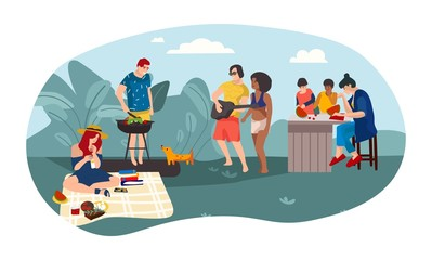 Summer people BBQ. Cartoon parents and children spending time together picnic girl party. Vector illustration friends summer activities outdoors background