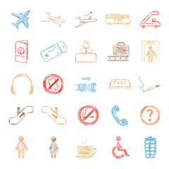 Vector Set of Color Sketch Airport Icons