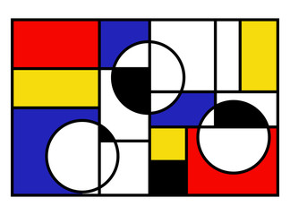Vector illustration of modern art abstract. Colorful circles, squares and rectangles. Mondrian geometric style vector illustration.