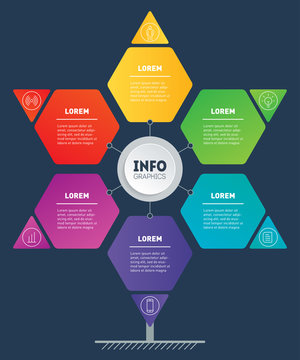 Business presentation or infographics concept looks like Star. Web Template of development tree, info chart or diagram. Info graphic of technology or education process with six steps. Hexagon.