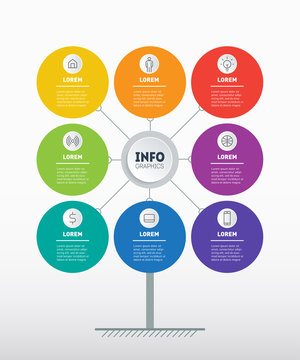 Business presentation concept with 8 options. Brochure design template. Template of tree, chart or diagram. Infographic of technology or education process with Eight steps.