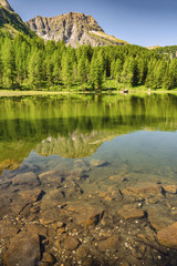 Fototapete - Scenic landscape with mountain, forest and lake