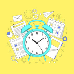 Time management concept illustration, organization, working time. Landing page template. Easy to repaint and adapt to your design. Vector illustration