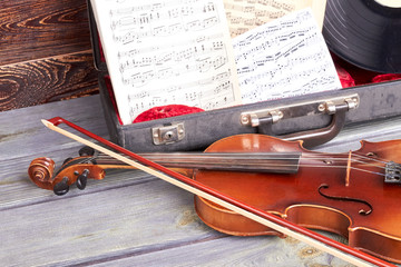 Classical musical instruments close up. Artistic objects musical instruments. Symphonic music...