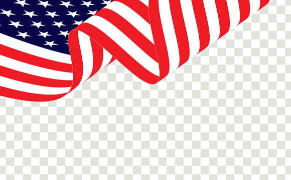 Waving american or USA flag, isolated and transparent, vector. USA, American waving flag, vector on transparent. American USA flag vector.