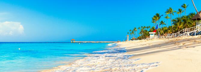 Tropical beach in Dominican Republic. Coconut Palm trees on white sandy beach. Wall mural