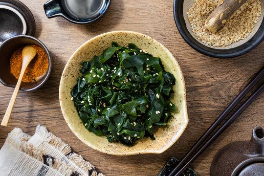 Wakame seaweed salad, a healthy Japanese dish.