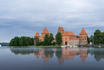 Medieval Castle of Trakai, Lithuania. Reflection