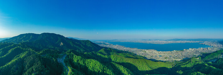 京都 滋賀 空撮 比叡山 琵琶湖 ドローン 写真素材 Fototapete
