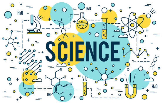 Science background. Research outline icons. Biotechnology and medical elements. Linear dna concept STEM line vector design Website Banner