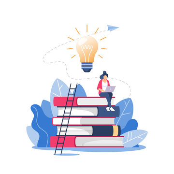 Person climbs the stairs, improve new skills and education. Online courses and business, distance education, online books and study guides, exam preparation, home schooling, vector illustration.