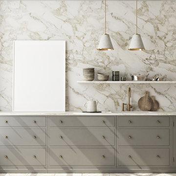 mock up poster frame in modern interior background, kitchen, Scandinavian style, 3D render, 3D illustration