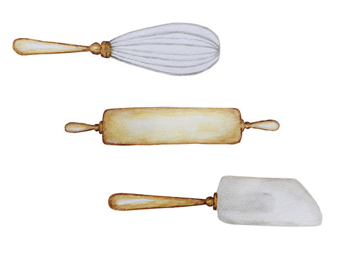 Hand drawn Wooden Kitchen accessories Set for baking watercolor illustration, isolated on white background. It's cooking time. Baking tools.