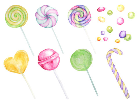 Bright colors candy set. Lollipops bright colors set on white background. Watercolor hand drawn candies illustration for menu design, cards, invitations.