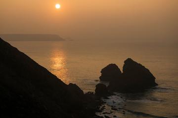Sunset Over Cornwall Cliffs
