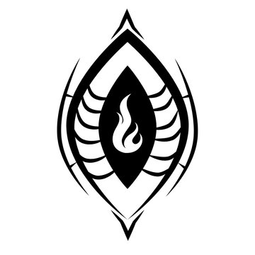 Vector symbol of a Vulva/Kteis/Yoni with a fire inside it.