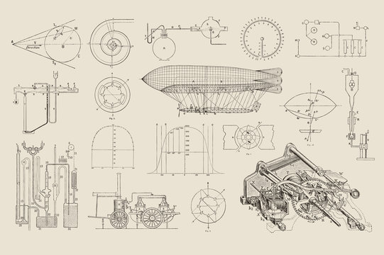 large collection of vector steampunk design elements: graphs, charts and construction drawings for dirigibles and various machines