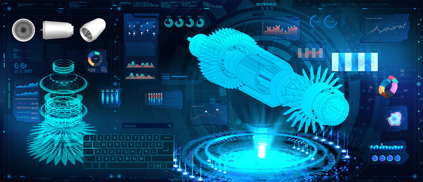 Hologram Jet engine of airplane in HUD, GUI style. Futuristic engineering illustration. Industrial aerospace blueprint. Jet engine statistics with parts of mechanisms. HUD UI style. Vector FUI image