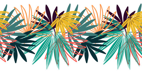 Vector seamless border pattern. Palm leaves wallpaper. Hand drawn tropical background.