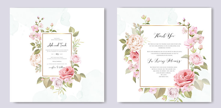 wedding invitation card with floral and leaves background template