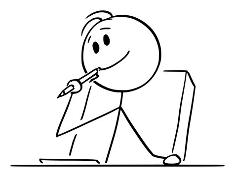 Vector cartoon stick figure drawing conceptual illustration of creative man or businessman or writer thinking about something, with ballpoint pen in mouth and piece of paper on the table.