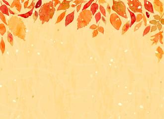 秋の多種多様な色づく葉 水彩