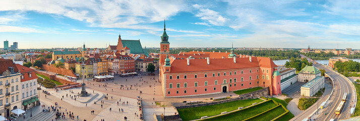 Aerial view of old town in Warsaw, Poland Wall mural