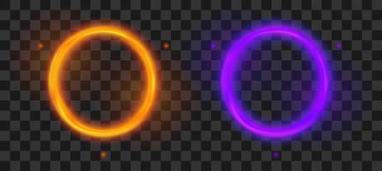 Magic round portal. Futuristic orange and violet teleport. Vector fantasy glowed circle frame set.