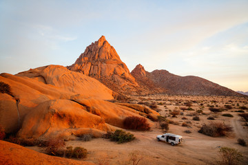 Aluminium Prints Orange Glow Sunset at Spitzkoppe Namibia