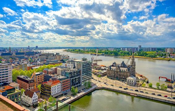 An aerial view of the port and docks in Antwerp (Antwerpen), Belgium.