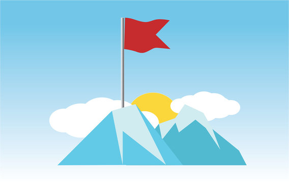 Business the flag on the high mountain with the sun shining behind shows the finish line or the purpose of success.