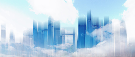 Abstract city skyline in blue sky and white clouds. Abstract city background