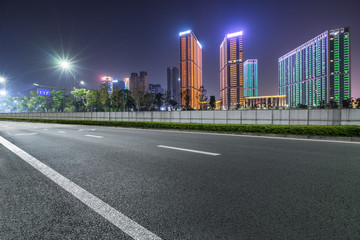 empty city road at night Wall mural