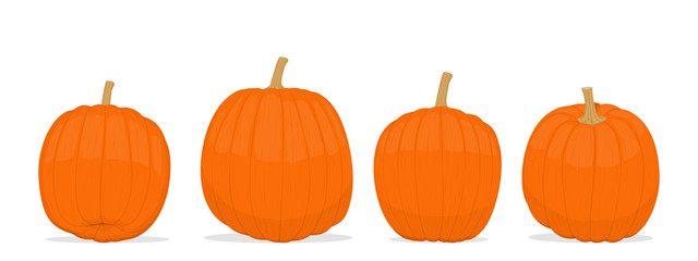 Isolated pumpkins on transparent background