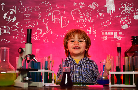 Child in school, science and education for pupil. School chemistry lessons. Preschooler. What is taught in chemistry