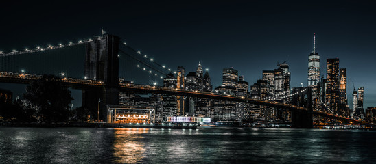 Acrylic Prints Brooklyn Bridge Brooklyn Bridge and Jane's Carousel with views of downtown Manhattan
