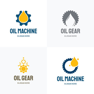 Set of Oil Industry logo designs concept vector, Collection Oil Gear Machine logo template symbol