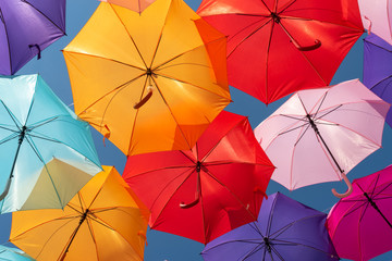 Obraz Street decoration colorful umbrellas background - fototapety do salonu