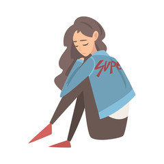 Unhappy Sad Girl Sitting on Floor, Depressed Teenager Having Problems, Front View Vector Illustration