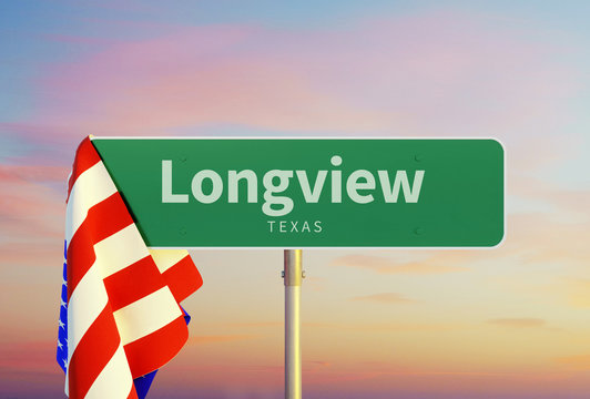 Longview – Texas. Road or Town Sign. Flag of the united states. Sunset oder Sunrise Sky. 3d rendering