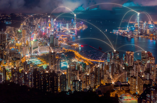 Aerial view of Hong Kong city with connection network technology. Wireless network.global communication.internet of thing.smart city concept.big data