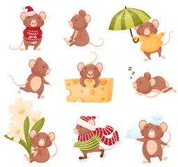 Set of images of cute mice. Vector illustration on white background.