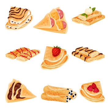 Set of pancakes. Vector illustration on white background.